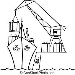 barco, y, grúa