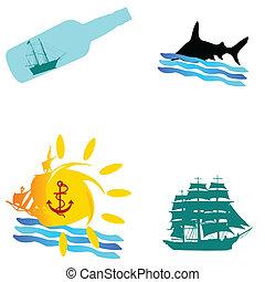 barco, y, mar, icono, vector, ilustración