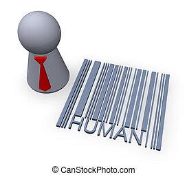 barcode, 人間