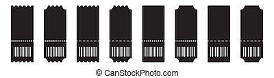 barcode, 切符, テンプレート, ブランク, 白い背景, セット