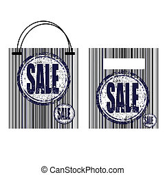 barcode, 買い物, セール, 袋, ステッカー