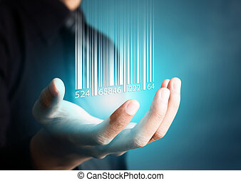 barcode, 떨어짐, 통하고 있는, 남자, 손