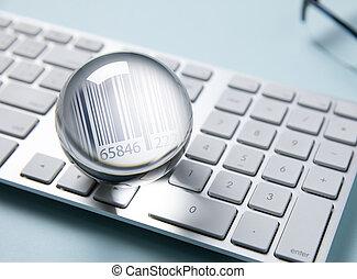 barcode, 에서, 밝다, 결정, 백색 위에서, 컴퓨터 키보드