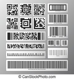 Barcode and QR code set. Collection various barcodes and qr...