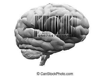 barcode, auf, gehirn