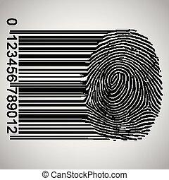 Barcode becoming fingerprint, vector illustration