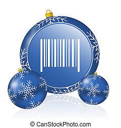 Barcode blue christmas balls icon