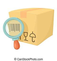 Barcode box icon, cartoon style