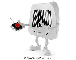 Barcode character pushing button on white background