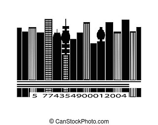 Barcode city silhouette over white background
