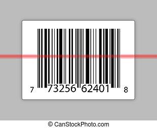 barcode, con, uno, laser, scansione, esso