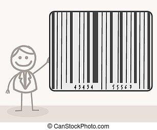barcode, człowiek