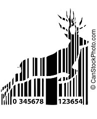 barcode deer background for Christmas