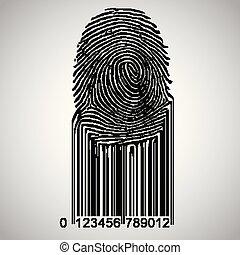 barcode, devenir, vecteur, empreinte doigt