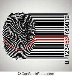 barcode, devenir, vecteur, illustration, empreinte doigt