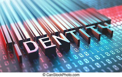 Barcode Digital Identity - 3d illustration of a laser...