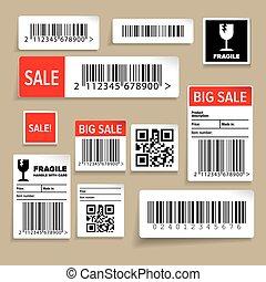 barcode, etichette, imballaggio, vettore, adesivi, o