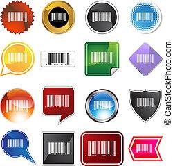 barcode, etikett, sätta