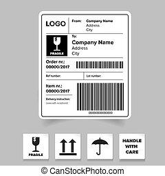 barcode, expédition, gabarit, étiquette