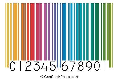 barcode, färgad