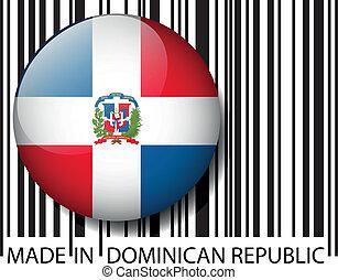 barcode., fait, dominicain, illustration, vecteur, république