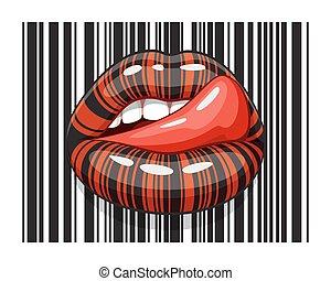 barcode, faixa, maquilagem, de, femininas, boca, com, língua