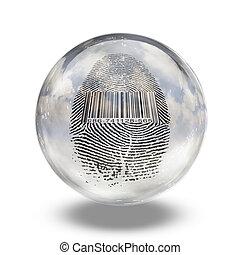 Barcode Fingerprint Enclosed in Glass