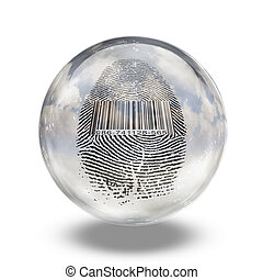 Barcode Fingerprint Enclosed in Glass