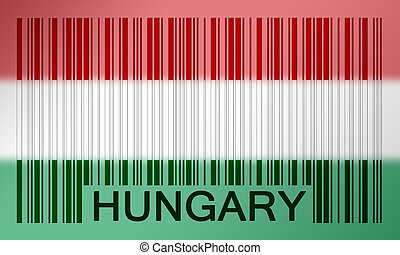 Barcode flag - Flag of Hungary, painted on barcode surface