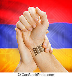 Barcode ID number on wrist and national flag on background - Armenia