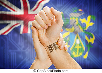 Barcode ID number on wrist and national flag on background - Pitcairn Islands