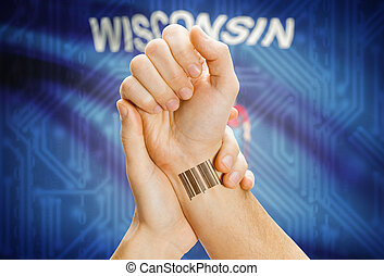 Barcode ID number on wrist and USA states flags on background - Wisconsin