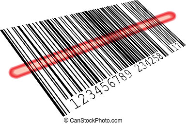 illustration of a barcode with a red scanning bar, eps8 vector