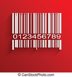 Barcode image on red background - vector illustration