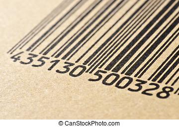 barcode, impreso, en, un, caja de cartón, elaboración, macro