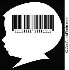 barcode in baby head silhouette