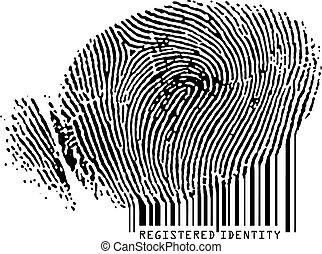 barcode., ingeschreven, -, vingerafdruk, gepast, identiteit