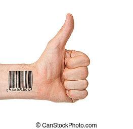 barcode, kciuk do góry