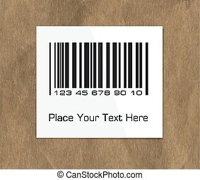 Barcode label on a dark packing paper