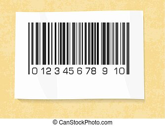 barcode label on a packing paper