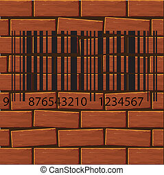 barcode label on the brick wall