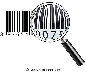 barcode., lustré, magnifier