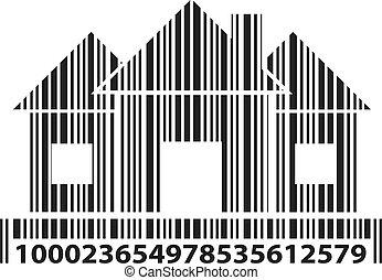 barcode, maison, vecteur, illustration