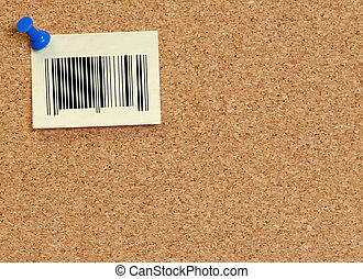 barcode note on corkboard