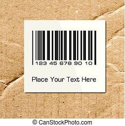 Barcode on a cardboard surface