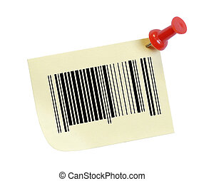 barcode on a note with a thumb tack
