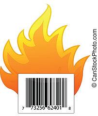 barcode on fire illustration design