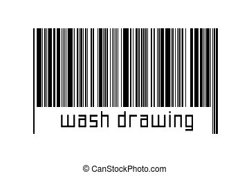 Digitalization concept. Barcode of black horizontal lines with inscription wash drawing below.