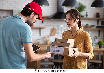 barcode, osoba dostawy, kabiny, kontrola