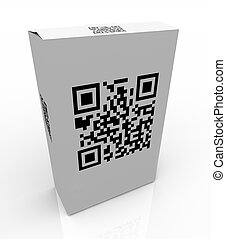 barcode, qr, code, produit, boîte, balayage
